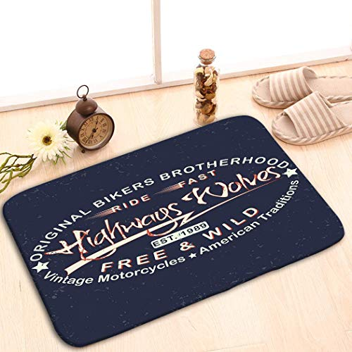 Bikofhd Print Bath Rugs Bathroom Accessories Non-Slip Doormat Floor Entryways Indoor Front 23.6 by 15.7 Inch Teeshirt Print Grunge Motorcycle hot rods Typography -