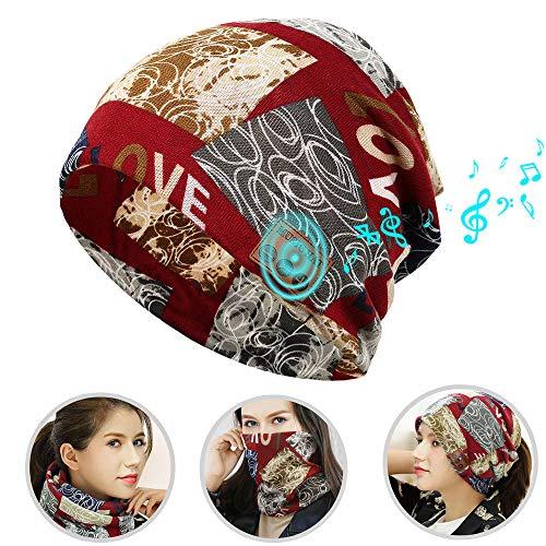 MEETWEE Bluetooth Beanie Mütze, Musical Cap mit Funkkopfhörer Stereo Lautsprecher Mikrofon Wireless Hut, Damen Pferdeschwanz Mütze mit Zöpfen Loch Loop