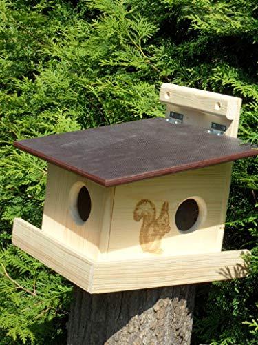 XXXL Echhörnchen Kobel/Futterhaus aus hochwertigem Vollholz, deutsches Qualitätsprodukt vom Schreiner wahlweise Imprägniert oder naturbelassen (Eichhörnchenkobel naturbelassen)
