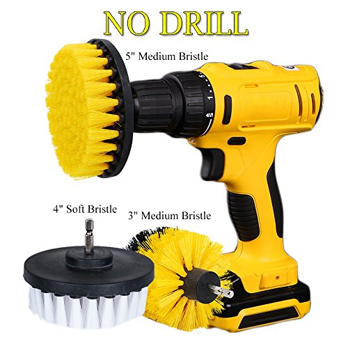 Heavy Duty Floor Paint (OxoxO Drill Powered Cleaning Scrub Brush Attachment Kit Soft and Medium 3 4 5 inch for Cleaning Pool Tile Flooring Brick Ceramic Marble Grout Glass Carpets upholstery)