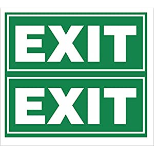 Green Panda Exit Sign Board (23X10 cm) with Thin Self-adhesive Tape -Set of 2