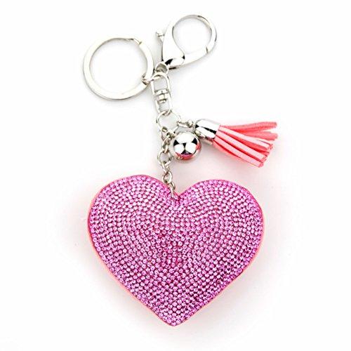 MANUMAR Schlüsselanhänger Handtaschen Dekoration in Herz Motiv aus glitzernden Strass Steinen mit Kordel und Fransen Geschenkidee (Herz Schlüssel Anhänger)