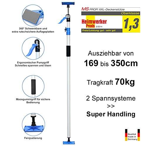 PROFI XXL Deckenstütze - Schnellspann-Stütze - Baustütze - 1.690-3.500mm - Tragkraft 70 kg - Made in Germany - MS-XXL2011