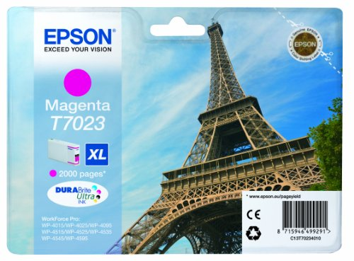 Epson-magenta-inkjet-drucker Patrone (Epson T7023 Tintenpatrone Eiffelturm XL, Singlepack magenta)
