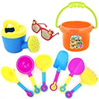 YBWZH 9Pcs Toys Set for Kids, Beach Pail Set with Molds Bucket Castle Spade Shovel Rake Water Tools Beach Toys