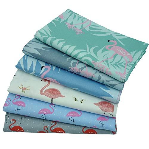 Kissen Kissen Stoff (6 Stück Fat Quarters Quilten Stoffbündel, 46x56 cm Flamingo bedruckter Baumwollstoff zum Quilten Craftting, 18