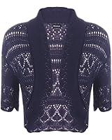 WearAll - Boléro Cardigan Tricoté Crochet à Manches Courtes - Hauts - Femme - Bleu marine - 42-44