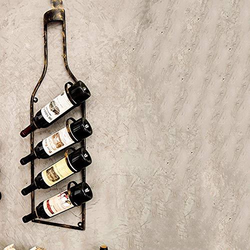 YQQ Flasche geformt hängende Weinflaschenhalter Antik Bronze Farbe Metall Wand Weinregal (Farbe :...