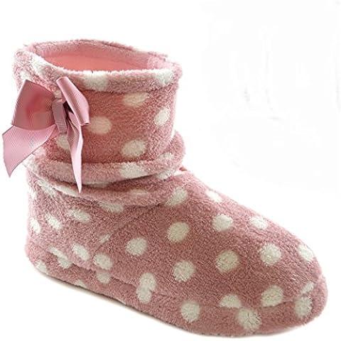 Zapatillas de estar por casa botín de polar con estampado de lunares para mujer