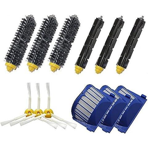 LOVE(TM)Aero Vac Filter & Setola Spazzola e flessibile Brush Beater & 3-Armed Side Brush Confezione Rifornimento Mega Kit per Robot serie 600 (620 630 650 660 680) pulizia con aspirapolvere robot
