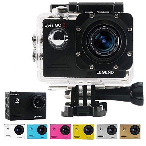 Eyes GO 2 LEGEND - 12MP - + 31 accessori inclusi quale 7 gusci di colore consegnati - Marca francese - FULL HD 1080p - Videocamera Sportiva - Action Cam - Cassa stagna 30 metri - Schermo LCD 1,5 pollici - WIFI - Applicazioni ANDROID - APP