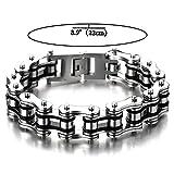 22CM Top-Qualität Herren-Armband Edelstahl Fahrradkette Motorradkette Silber Schwarz Zwei Töne Hochglanz Poliert - 2