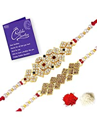 Sukkhi Exquisite Rakhi Combo (Set of 2) with Roli Chawal and Raksha Bandhan Greeting Card for Men