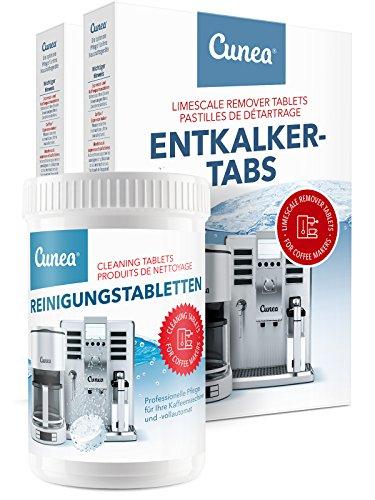 Cunea Reinigungset 40x Entkalkungstabletten & 150x Reinigungstabletten für Kaffeevollautomaten...