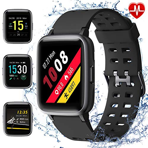 armo Smartwatch, Fitness Armband Tracker, Sportuhr mit Schrittzähler Pulsmesser Wasserdicht IP68, Voller Touch Screen Smart Watch für Android iOS