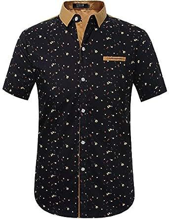 SSLR Herren Druck Typ Casual Kurzarm Hemd (Medium, Blau)