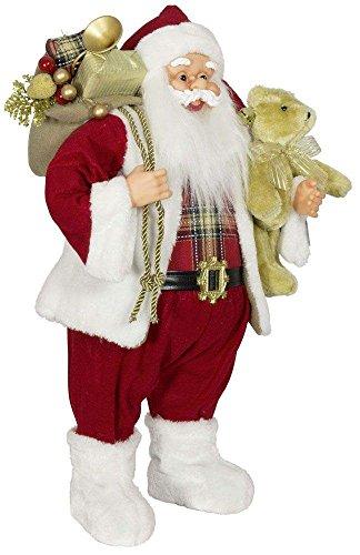 Weihnachtsmann Santa Nikolaus Alex mit schönem Gesicht und vielen Details / Größe ca.60cm / roter Mantel, rote Mütze, rote Hose, Fellstiefel - Trendyshop365