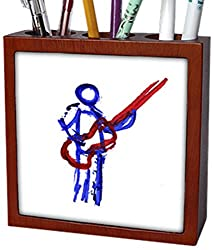 3dRose ph_155929_1 Bass Player Red Blue Sketch Musician Art Tile Pen Holder, 5-Inch
