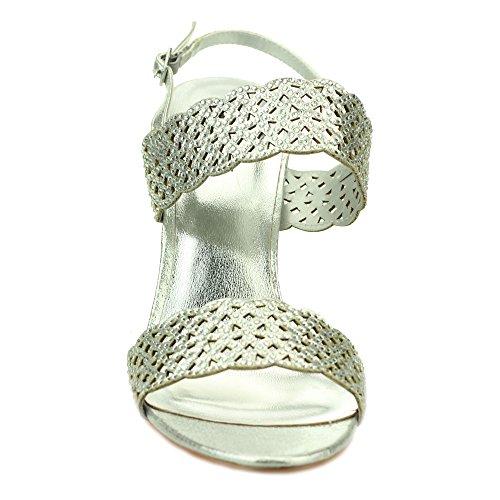 Aarz femmes Ladies Wedding Party Soirée Comfort Diamante haut Sandales à talons Chaussures Taille (Or, Argent, Noir) Argent
