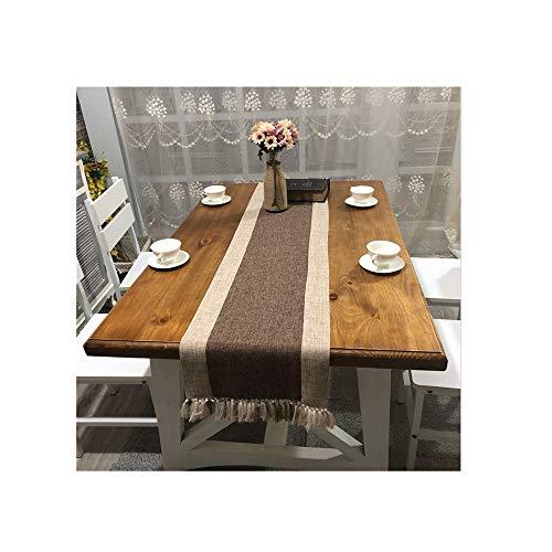 BaronHong Table Runner/Overlay für Romantisches Tischdekor; Baumwollleinen (braun, 38 * 220 cm)