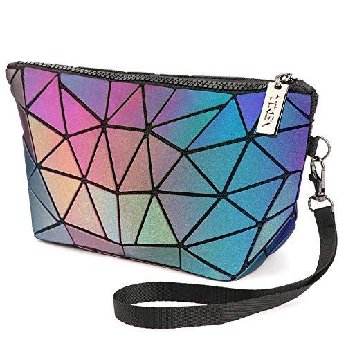 Tikea Make up Tasche, Geometrische Kosmetische Handtasche, Faltbar Aufbewahrungstasche, Leiterförmige Kosmetiktasche, Holographische Geldbörse für Frauen Mädchen Leuchtend