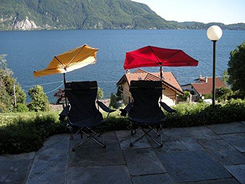 Nouveauté voyage parasols portable - 2 pièces-sET de voyage-sTABIELO hollysunny ® pour la plage les loisirs légère eINDREHBARER 1 x parasol de haute protection anti-uV de couleur résistante en rouge fauteuil aLUMINIUM de 120 kg chaise pliable à dossier haut - 3 kg-couleur kopfkissen- amovible facile : gris/noir-trinkbecheraufnahme, accoudoir-holly-sunshade ®-des combinaisons voir ! photo !