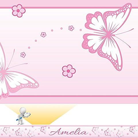 CHASING BUTTERFLIES personalised bedroom wall border - PINK