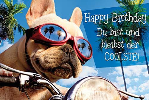 Geburtstagskarte Hund Humor Glückwunschkarte Lustige Karte Geburtstag Happy Birthday Card (Hund fährt Motorrad)