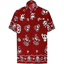 5bfd88b46 LA LEELA Casual Camisa Hawaiana Manga Corta Bolsillo Delantero Hombre  impresión De Hawaii Playa cráneo Halloween