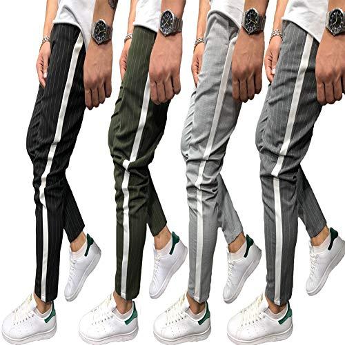 Shawnlen Männer Casual Skinny Track Pants Slack Bottoms Chino Slim Fit Hose Langer Trainingsanzug mit Taschen S-3XL (XXL, hellgrau) Casual Chino