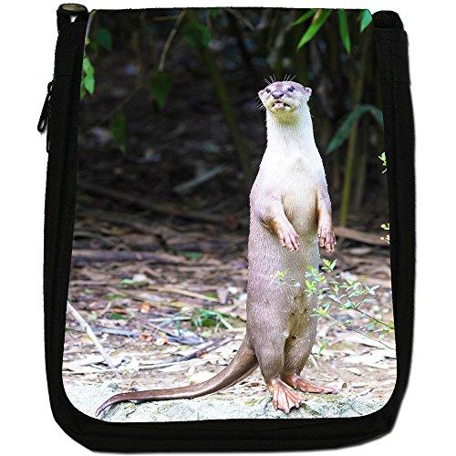 Lontra Animal-Borsa a tracolla in tela, colore: nero, taglia: M Small Otter Standing Up
