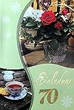 Einladungskarten 70. Geburtstag Frau Mann ohne Innentext Motiv Rose Tee 10 Klappkarten im Hochformat mit weißen Umschlägen im Set Geburtstagskarten Einladung 70 Geburtstag Mann Frau K153