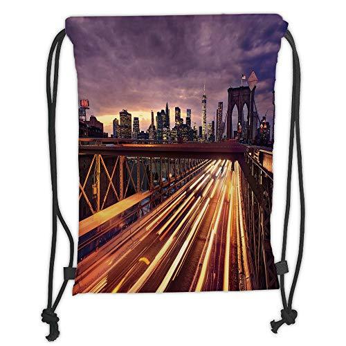 (Drawstring Sack Backpacks Bags,City,Brooklyn Bridge at Night Car Traffic in New York United States Transport,Lilac Dark Orange Yellow Soft Satin,5 Liter Capacity,Adjustable String Closu)