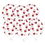 6 kristallklare Luftballons mit roten Herzen - Ideale transparente Ballondeko - Kleenes Traumhandel®