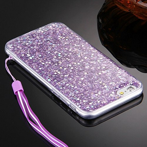 Für iPhone 6 / 6s, Flash Powder TPU Schutzhülle mit Lanyard DEXING ( Color : Silver ) Purple