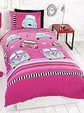 Kids Childrens Single Bed Size Duvet Cover Mini Camper Beetle Cars Pink Cerise