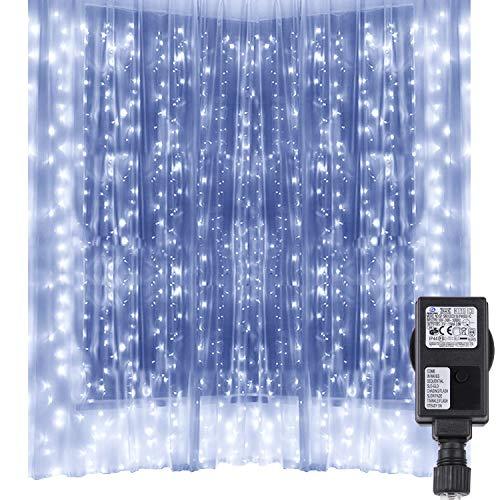 Speclux Luces de cortina, 3m x 3m, 300 LED, 8 Modos de Luces, Resistente al Agua, Cortina Luces LED para Decoración de Ventana, Patio, Jardín, Bar, Navidad, Día de San Valentín, Boda (Blanco frío)