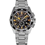 Rotary Pacific Men's Quartz Watch with Black Dial Chronograph Display and Silver Stainless Steel Bracelet AGB90088/C/04