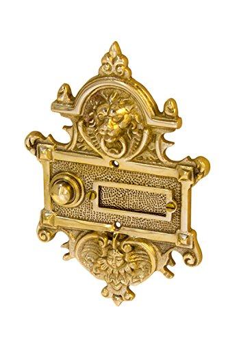 9191, aus Messing poliert, mit Klingelplatte und Klingeltaster - handgefertigt nach antiken Vorlagen ()
