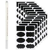 Rymall 96Pcs Schwarz Tafel-Sticker + 1Pcs silberner Stift, wiederverwendbar mit Kreidemarker,...