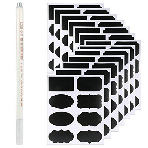 Rymall 96Pcs Schwarz Tafel-Sticker + 1Pcs silberner Stift, wiederverwendbar mit Kreidemarker, Flüssigkreidemarker, abwischbar für Gläser, Lebensmittel, Gewürz, Brille, Büro einfach organisieren