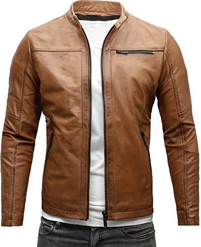 CRONE Epic Herren Lederjacke Cleane Leichte Basic Jacke aus robustem Rindsleder (M, Heavy Washed Cognac (Rindsleder))