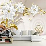 Personnalisé Papier Peint Papier Peint De Mode De Luxe Or Bijoux Fleur 3D Salon Tv Fond Murales Murales Creative Home Decor 200(L) X140(H) Cm