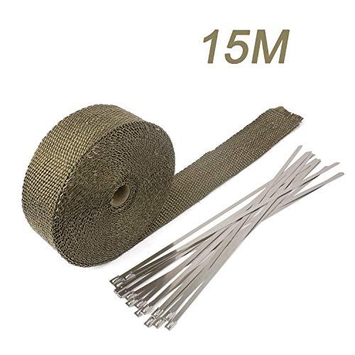 YAOBLUESEA 15M Bande Isolant Thermique Collecteur Echappement + 15 Colliers en Inox