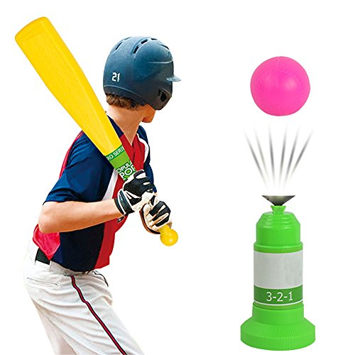 Baseball Trainer, Toys Sports Equipment Plastic Baseball Automatic Adjustable Launcher With Bat For Kids, Educational Leisure Outdoor Indoor Toys For Children PE Physical Training Team Sports Activity