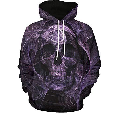 Kanpola Oversize Herren Shirt Slim Fit Schwarz Adler Totenkopf 3D Bedruckte T-Shirt Pullover Kapuzenpullover Hoodie Sweatshirt,001