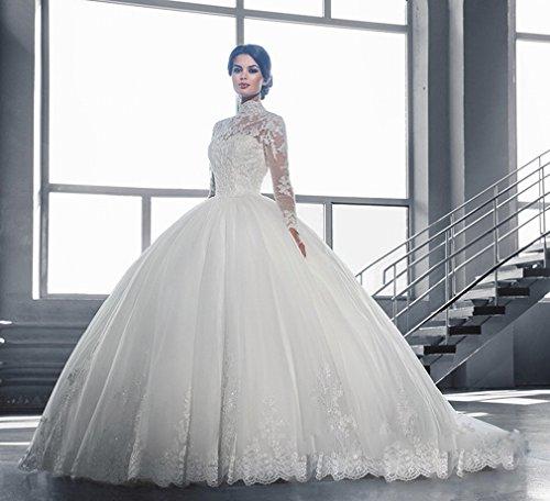 UU Braut Hochzeitskleid Luxus Spitze Wort Schulter Lange ?rmel Braut Schwanz Brautkleid,EIN,XL