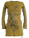 Vishes - Alternative Bekleidung – Langärmlige Tunika mit aufgestickten Blumen und Raffinierter Schnürung Olive 40