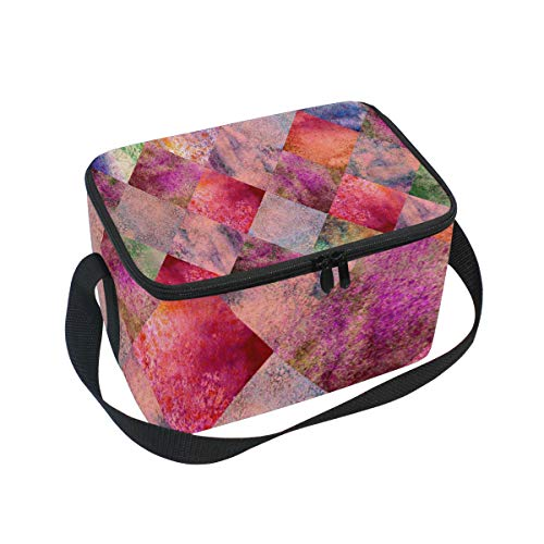 Argyle Tote (SKYDALunchpaket Box Insulated Lunchpaket Bag Large Cooler Argyle Geometric Watercolor Tote Bag for Men, Women, Girls, Boys)
