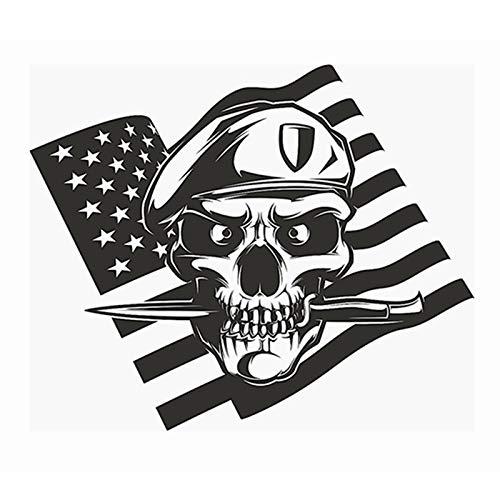Schädel Dolch US Flagge Soldat Aufkleber Punk Tod Aufkleber Halloween Devil Poster Name Autofenster Kunst Wandtattoos Dekor Wanddekoration 58X62 CM